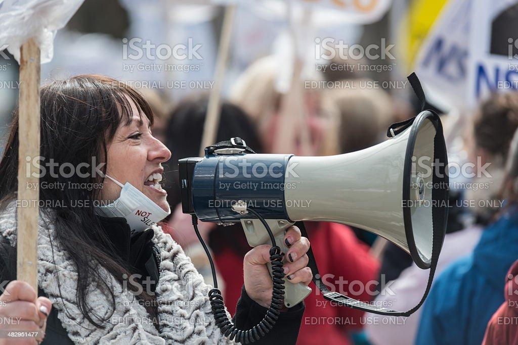 Striking NSGEU Nurse with Megaphone stock photo