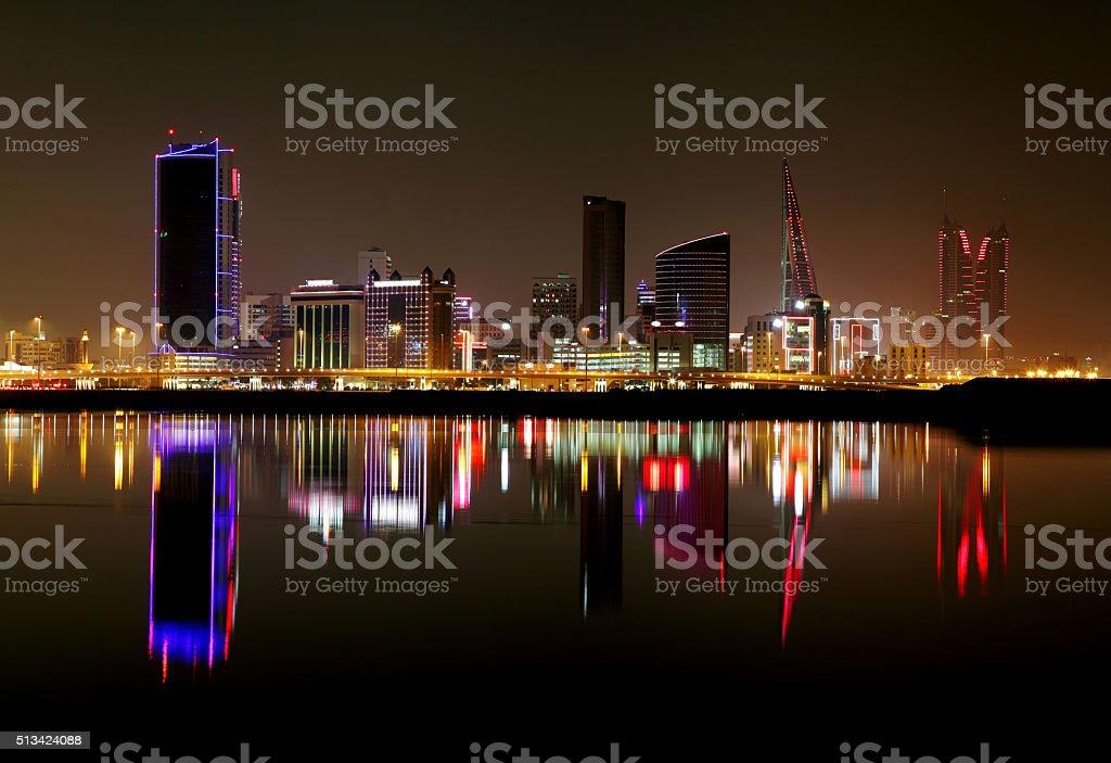 Striking reflection of Bahrain skyline stock photo
