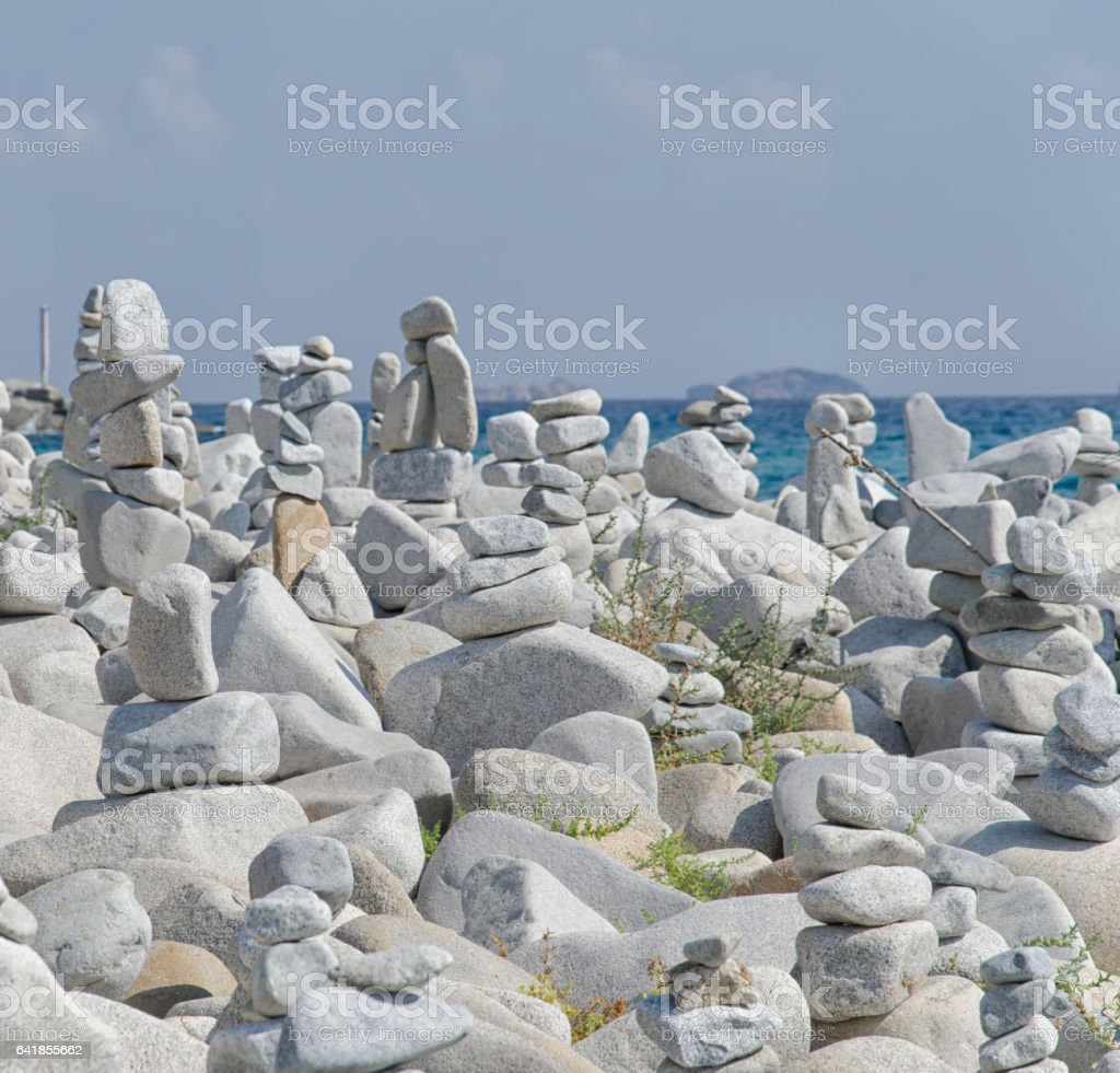 Striking statues made from stones stock photo
