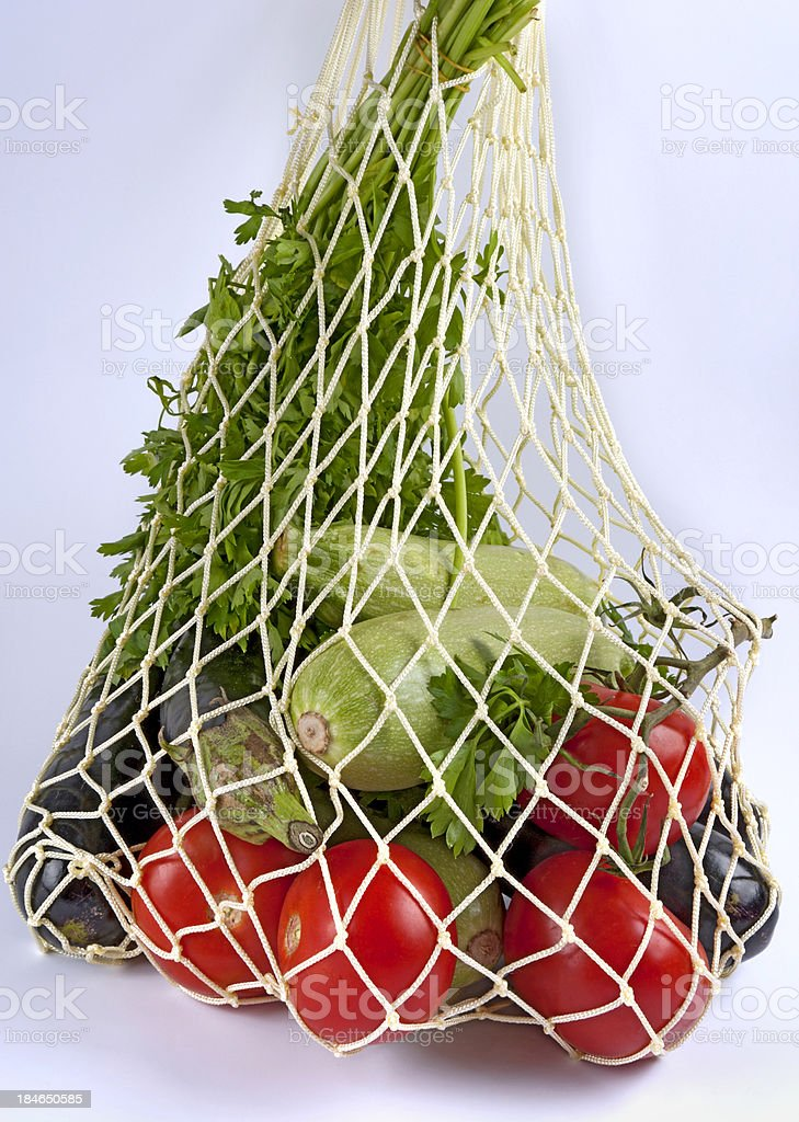 String bag and vegetable royalty-free stock photo