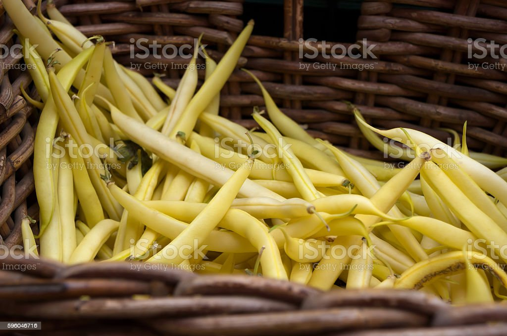 String beans at the vegetable market. stock photo