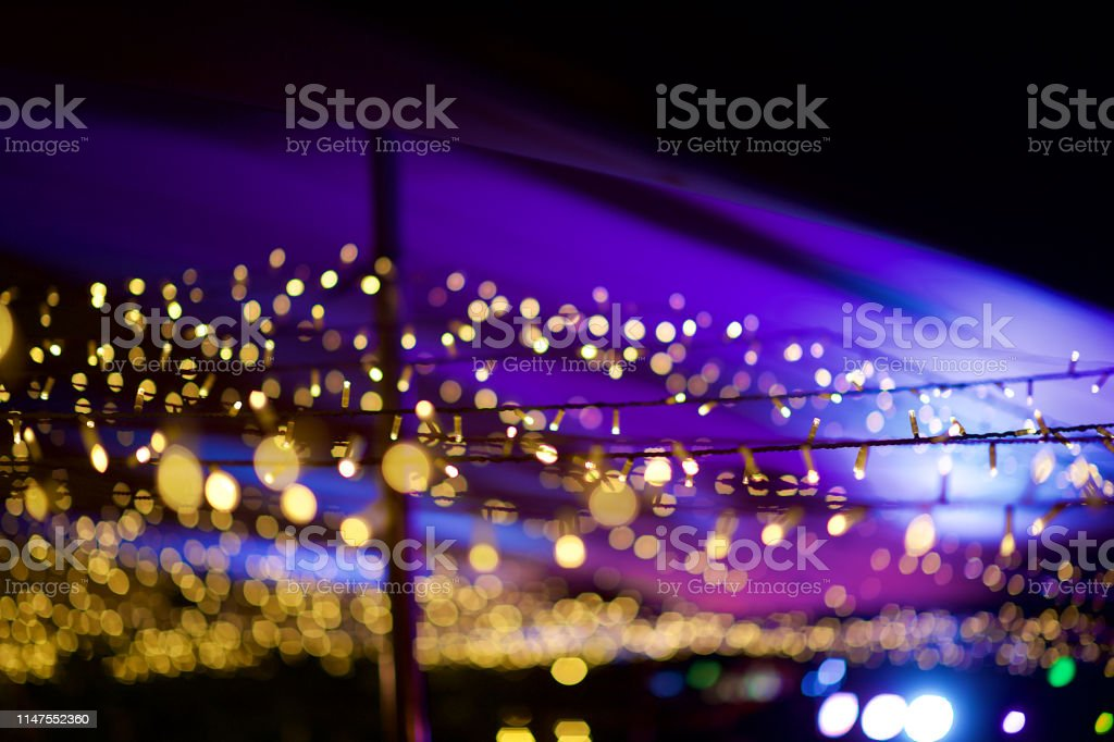 Image of: String Fairy Lights At An Outdoor Tent Defocussed Bokeh Purple Stock Photo Download Image Now Istock