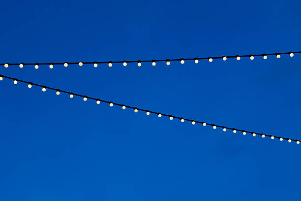 string light bulb and blue sky background – Foto