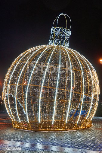 Moscow, Russia - January 9, 2020: Illuminated ball ornament was placed on Poklonnaya Hill during Christmas and New year holidays.