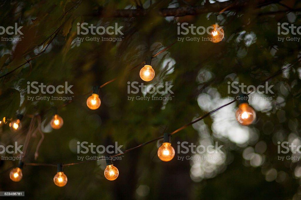 String lights in Backyard 2 stock photo
