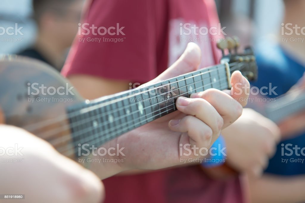 String Musical Instrument. Tamboura. Closeup stock photo