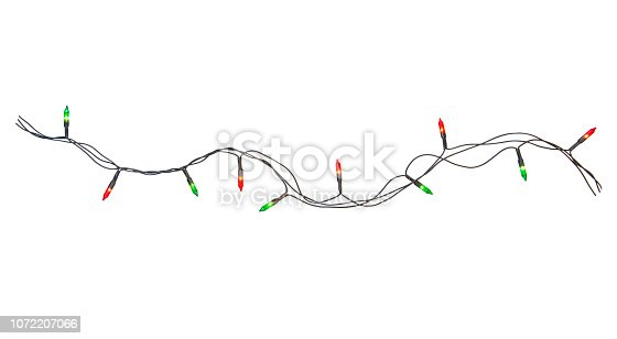 String of christmas lights frame isolated on white background With clipping path