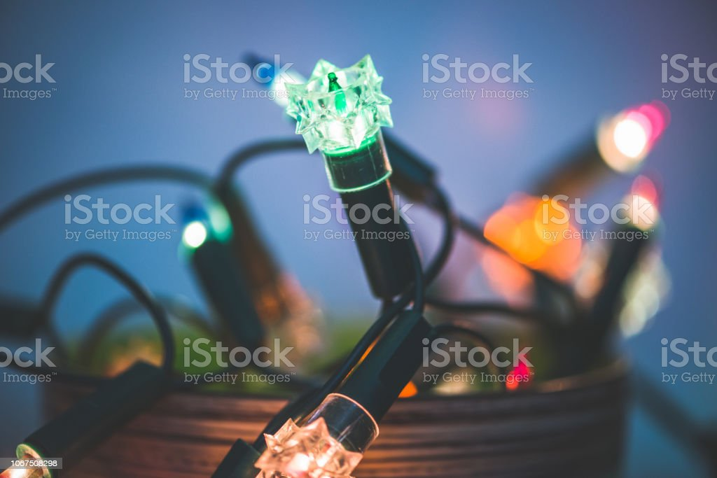String of Christmas Lights in a Bowl stock photo