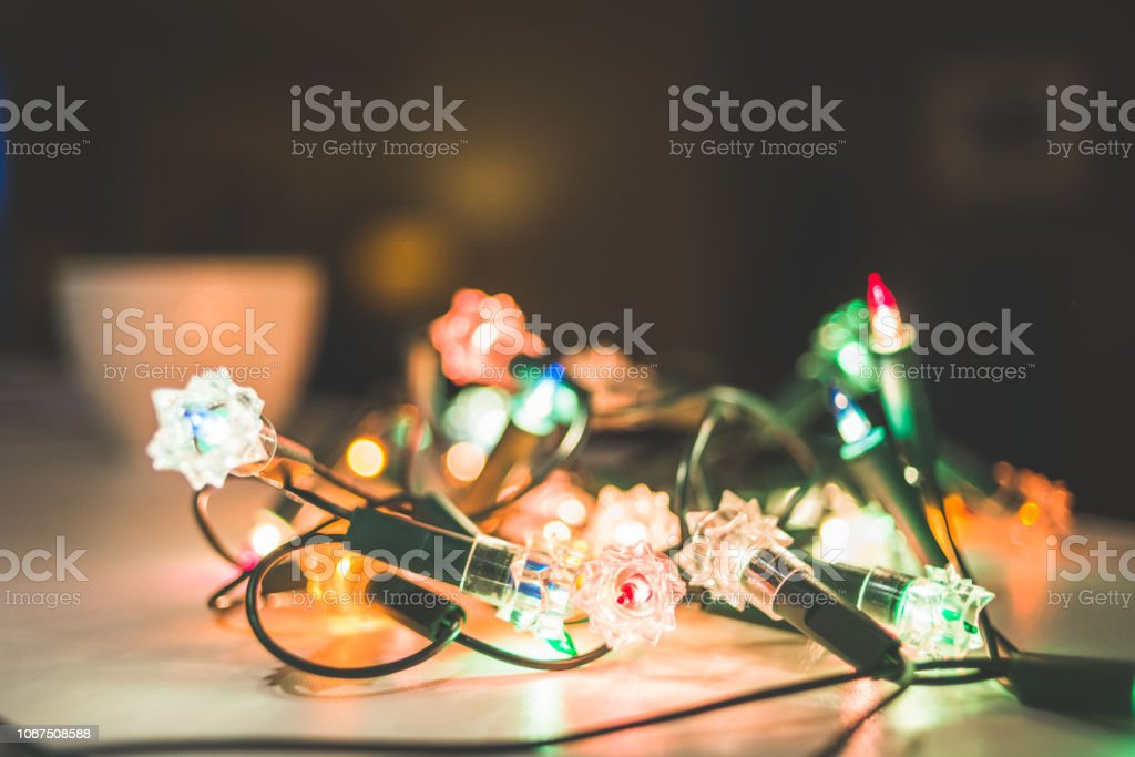String of Christmas Lights in a Mess stock photo