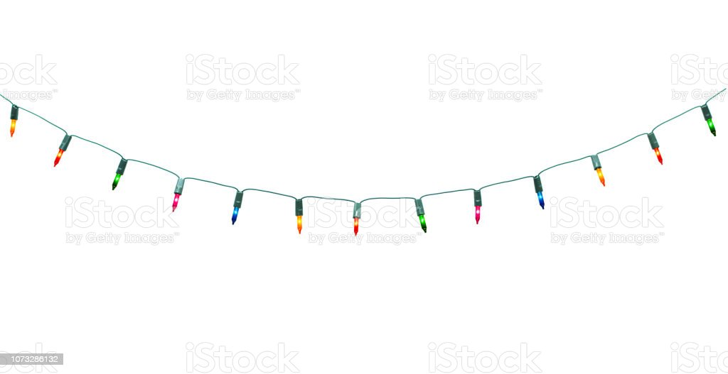 String Of Christmas Lights Isolated On White Background With