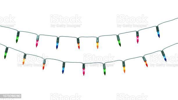 클리핑 경로와 흰색 배경에 고립 된 크리스마스 불빛의 문자열 0명에 대한 스톡 사진 및 기타 이미지