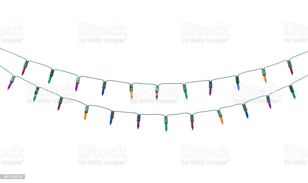 String of christmas lights isolated on white background With clipping path stock photo