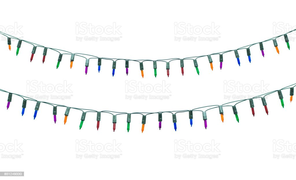 String Of Christmas Lights.String Of Christmas Lights Isolated On White Background With