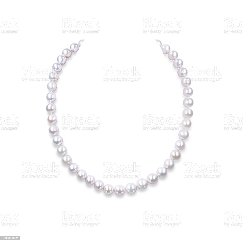 String of pearls on a white background. stock photo