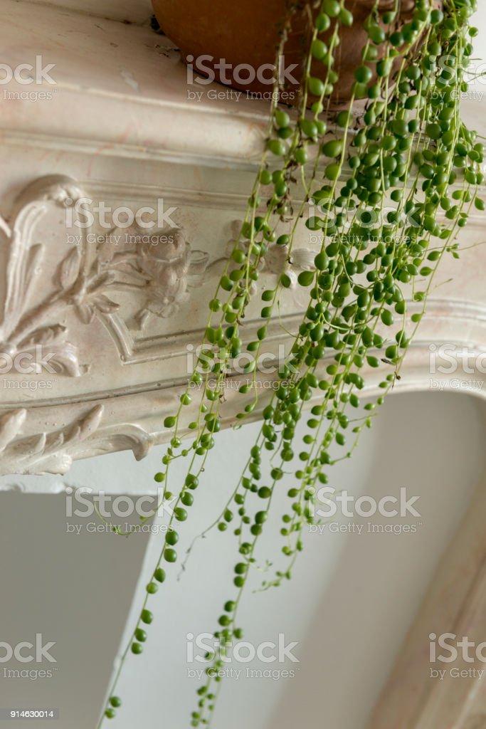 Zeichenkette Der Perlen Anlage Auf Versiegelten Kamin Kaminsimses  Lizenzfreies Stock Foto