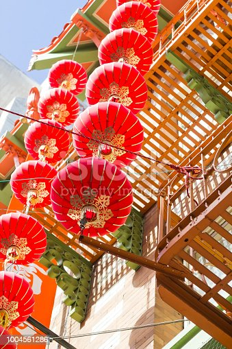 string of red hanging Chinese lanterns in chinatown