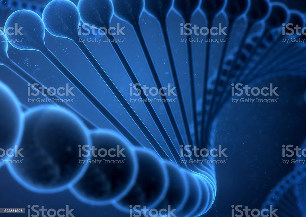 DNA String on a blue background. stock photo