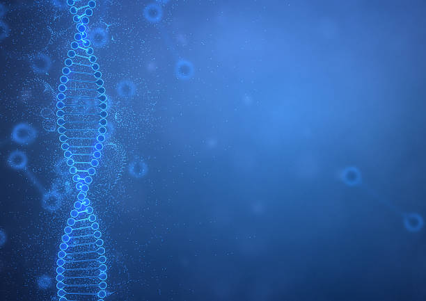 DNA String on Blue Background stock photo