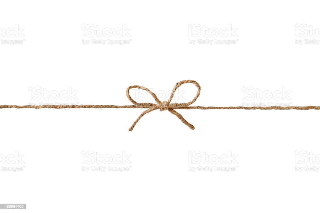 string or twine tied in bow isolated for your design stock photo