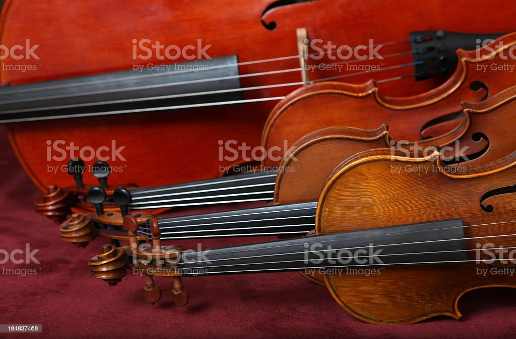String quartet instruments lying on their side stock photo