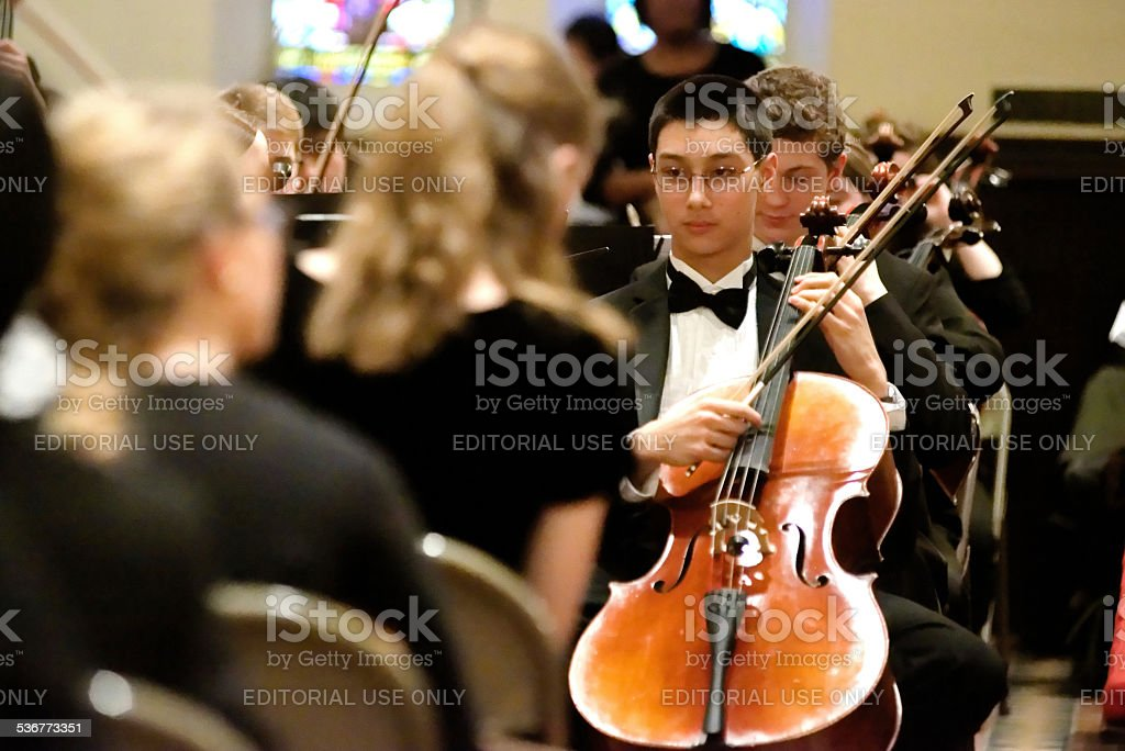 String Section Philadelphia Sinfonia Youth Orchestra stock photo