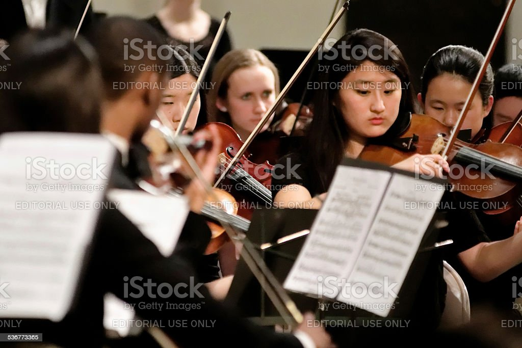 String Section Philadelphia Sinfonia Youth Orchestra royalty-free stock photo
