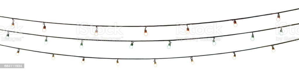string wired multi colored bulbs on white background stock photo