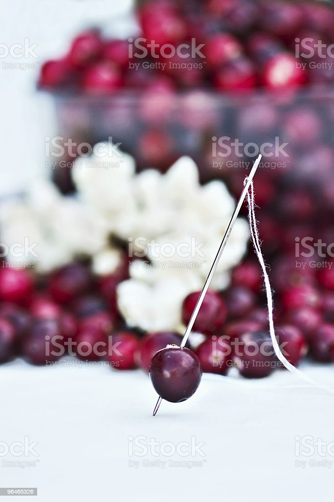 Stringing cranberries and popcorn royalty-free stock photo