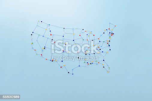 istock Strings and pins made map of  United States 533052689