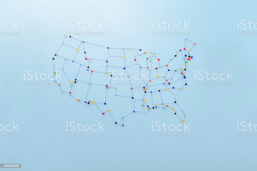 Strings and pins made map of  United States stock photo