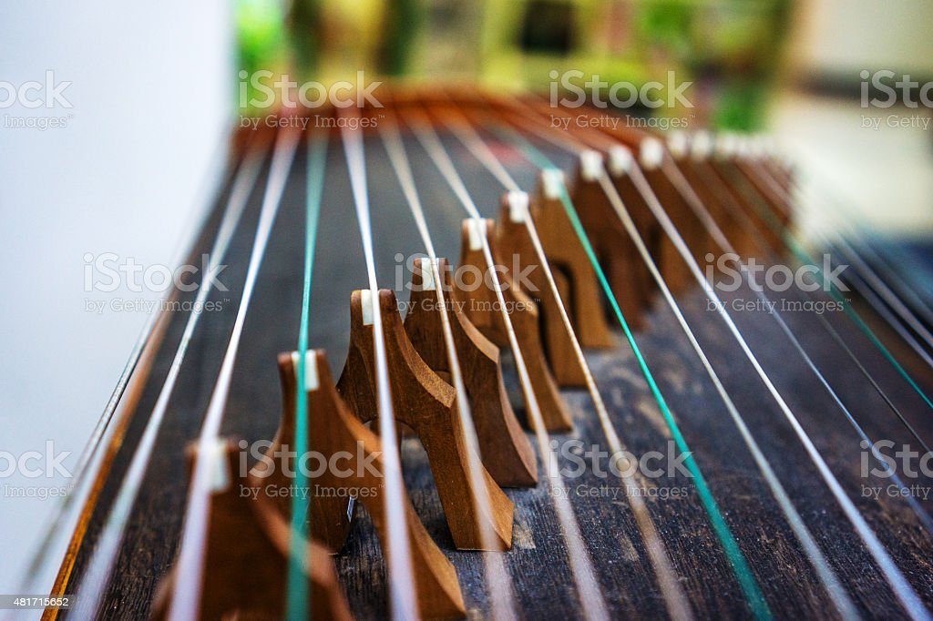 strings of Chinese zither stock photo