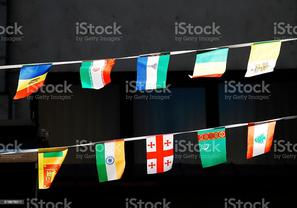 Strings of National Flags stock photo
