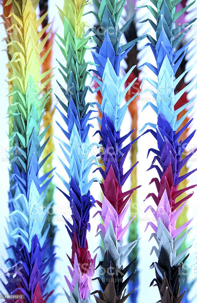 strings of origami cranes royalty-free stock photo