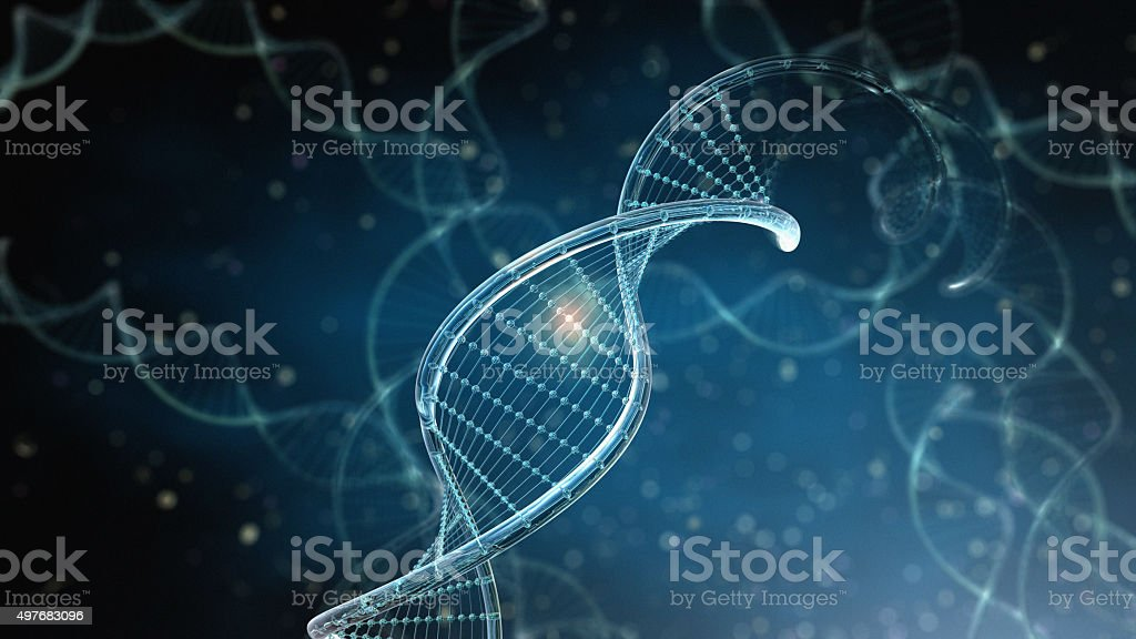 DNA Strings on dark background stock photo
