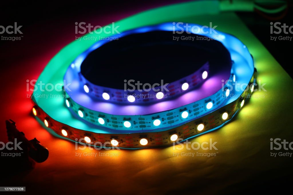 LED Strip lights which is addressable type with glowing lights LED Strip lights which is addressable type with glowing lights Color Image Stock Photo