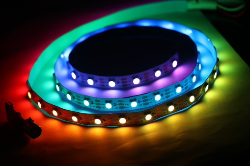 Led Strip Lights Which Is Addressable Type With Glowing Lights Stock Photo - Download Image Now