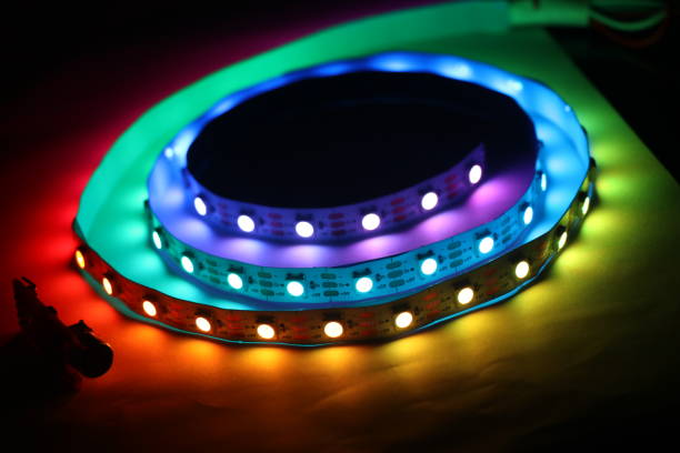 LED Strip lights which is addressable type with glowing lights LED Strip lights which is addressable type with glowing lights addressable stock pictures, royalty-free photos & images