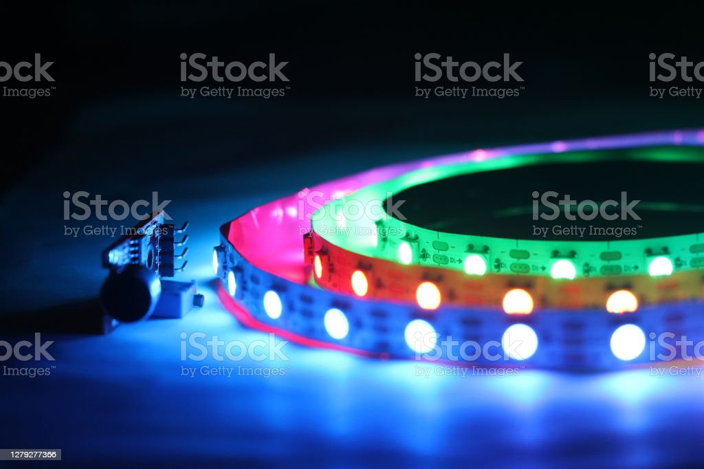 ARGB LED Strip lights which is addressable type with glowing lights ARGB LED Strip lights which is addressable type with glowing lights Close-up Stock Photo