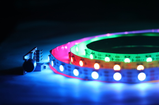Argb Led Strip Lights Which Is Addressable Type With Glowing Lights Stock Photo - Download Image Now