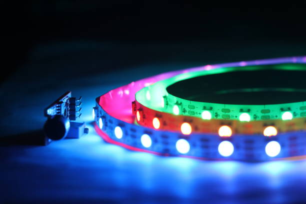 ARGB LED Strip lights which is addressable type with glowing lights ARGB LED Strip lights which is addressable type with glowing lights addressable stock pictures, royalty-free photos & images