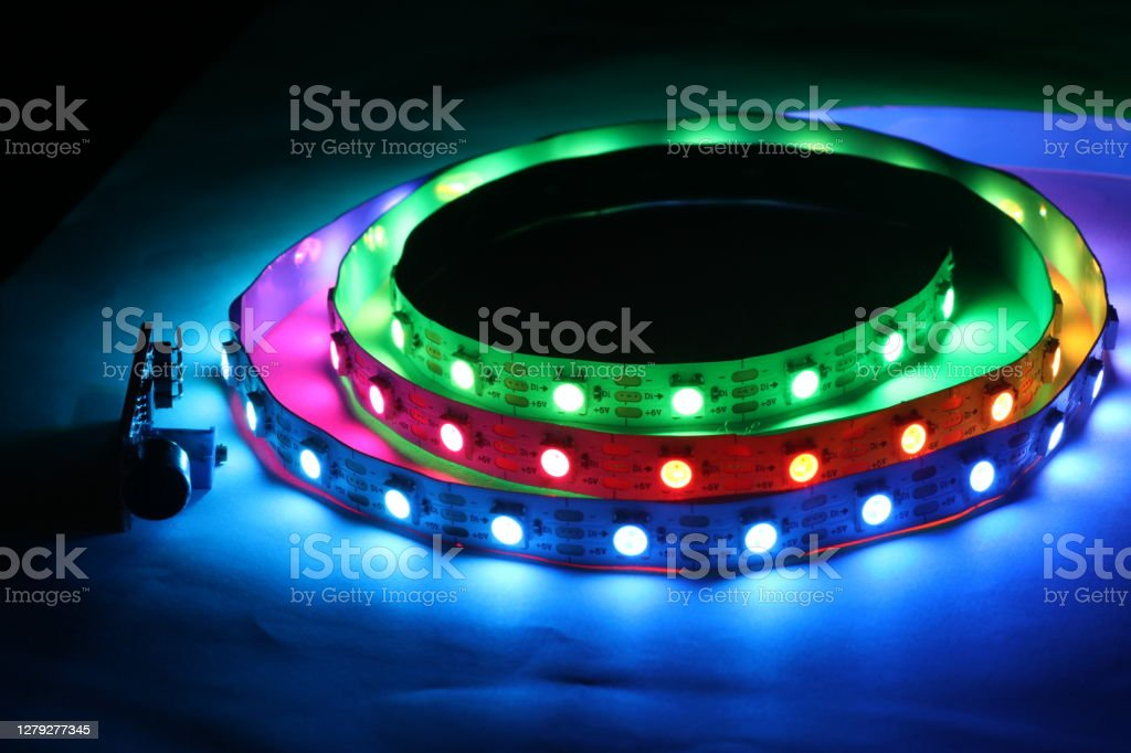 ARGB LED Strip lights which is addressable type with multicolor glowing lights ARGB LED Strip lights which is addressable type with multicolor glowing lights Color Image Stock Photo