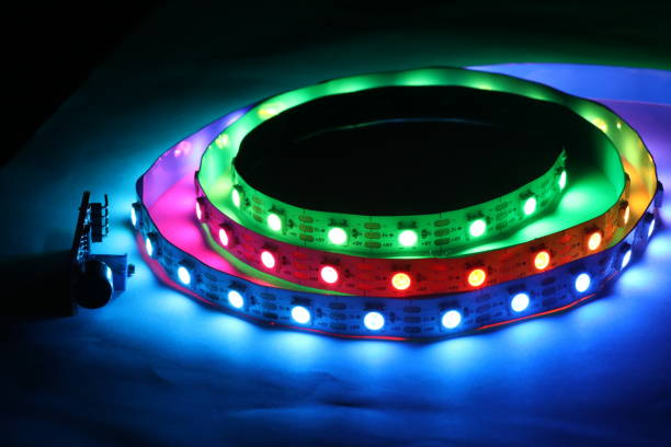 ARGB LED Strip lights which is addressable type with multicolor glowing lights ARGB LED Strip lights which is addressable type with multicolor glowing lights addressable stock pictures, royalty-free photos & images