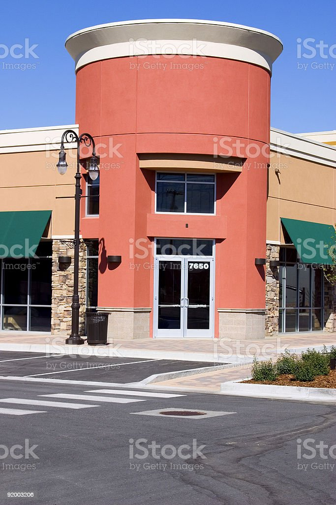 Strip Mall - Corner Store Restaurant royalty-free stock photo