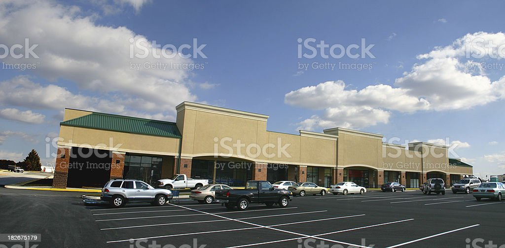 Strip mall royalty-free stock photo