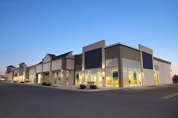 Strip Mall Store Building Exteriors at Sunset stock photo