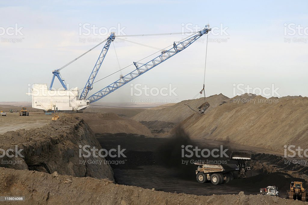 Strip Mine Drag Line and Coal Loading stock photo