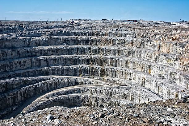 Strip mining in Canada's arctic. stock photo