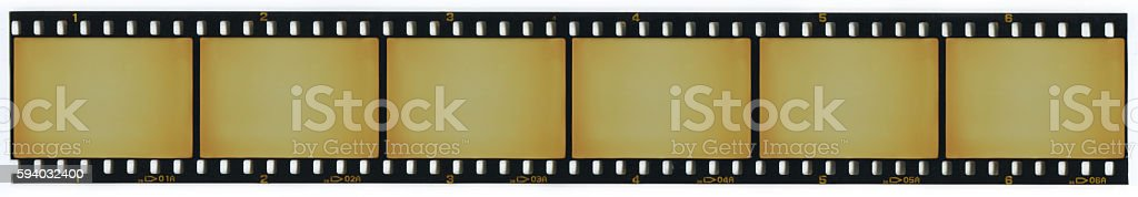 Strip of blank 35mm film frames stock photo