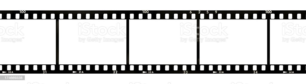 Strip of film Processed 35mm black and white images Art Stock Photo