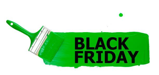 tira de pintura verde, pintada con un pincel, con la inscripción negra viernes negro, sobre un fondo blanco. Aislar. - foto de stock